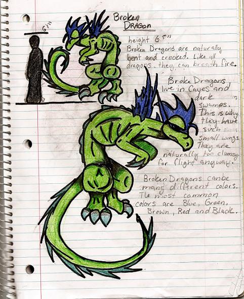 Green Broken Dragon by ShadowMagic