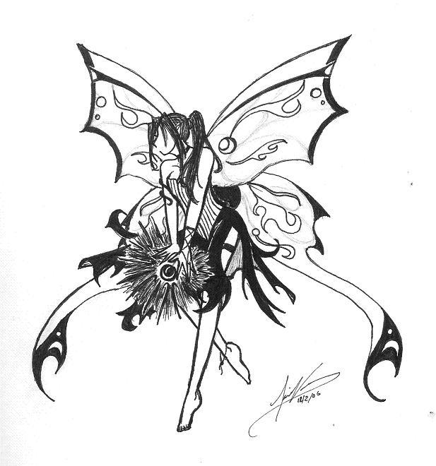 elemental dark fairy line art by shadowwing fanart central. Black Bedroom Furniture Sets. Home Design Ideas