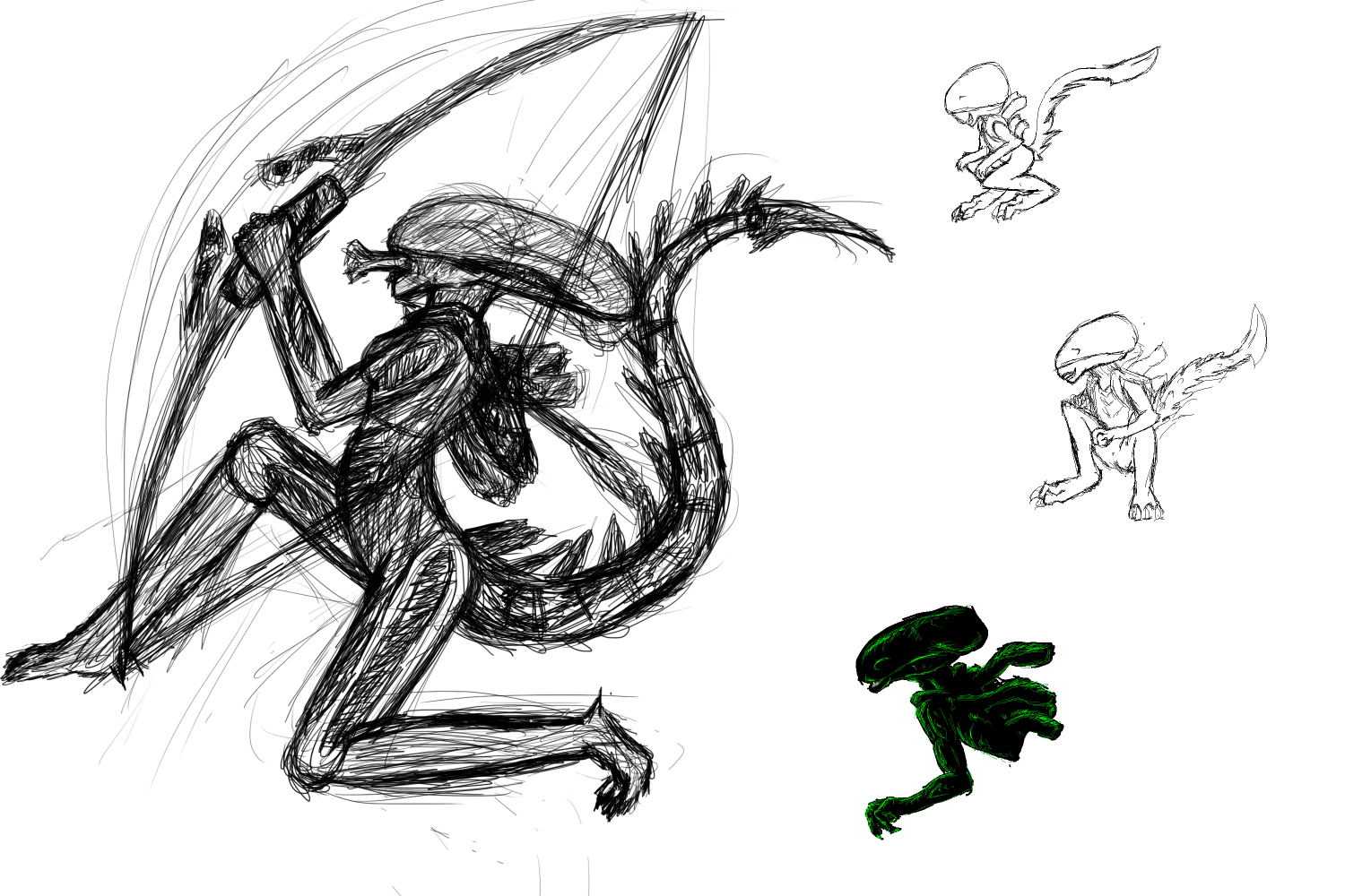 Xenomorph Doodles by SkyThing