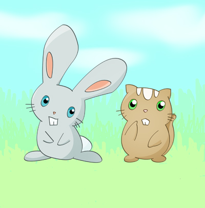 Rabbit and Chipmunk by Sliv