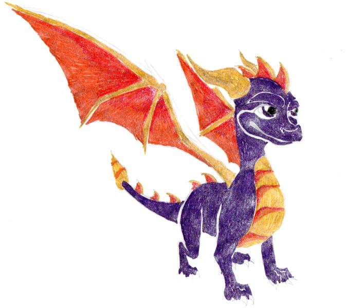 Spyro In Gel pen by SofeSmity