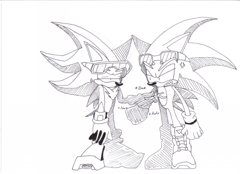 Shadow poking sonic with a stick by Sonic_Riders_Freak