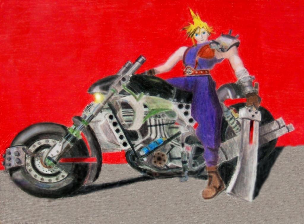 Cloud on his bike by Sora121