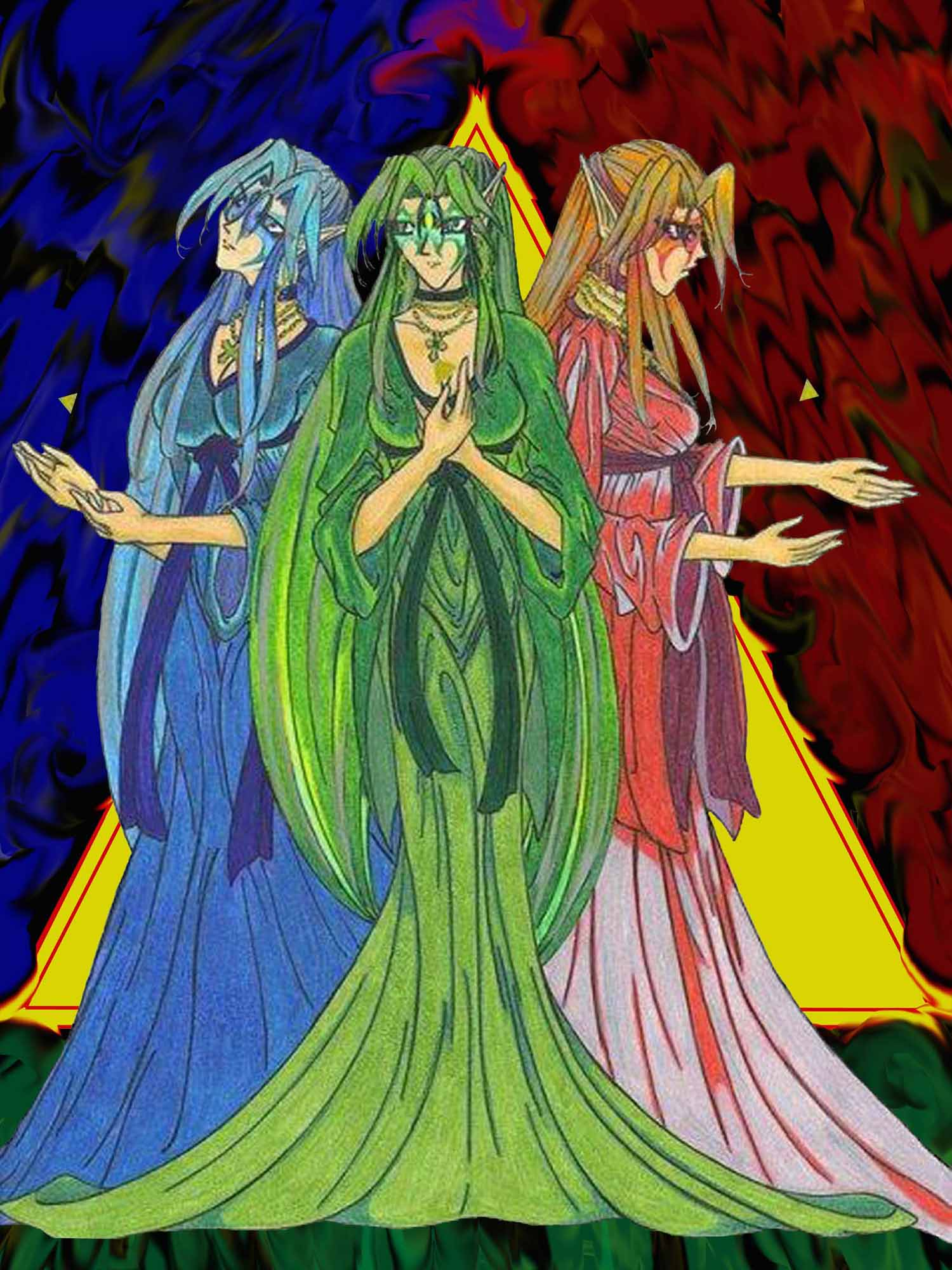 Goddesses of Hyrule-Triforce by Squall-sama