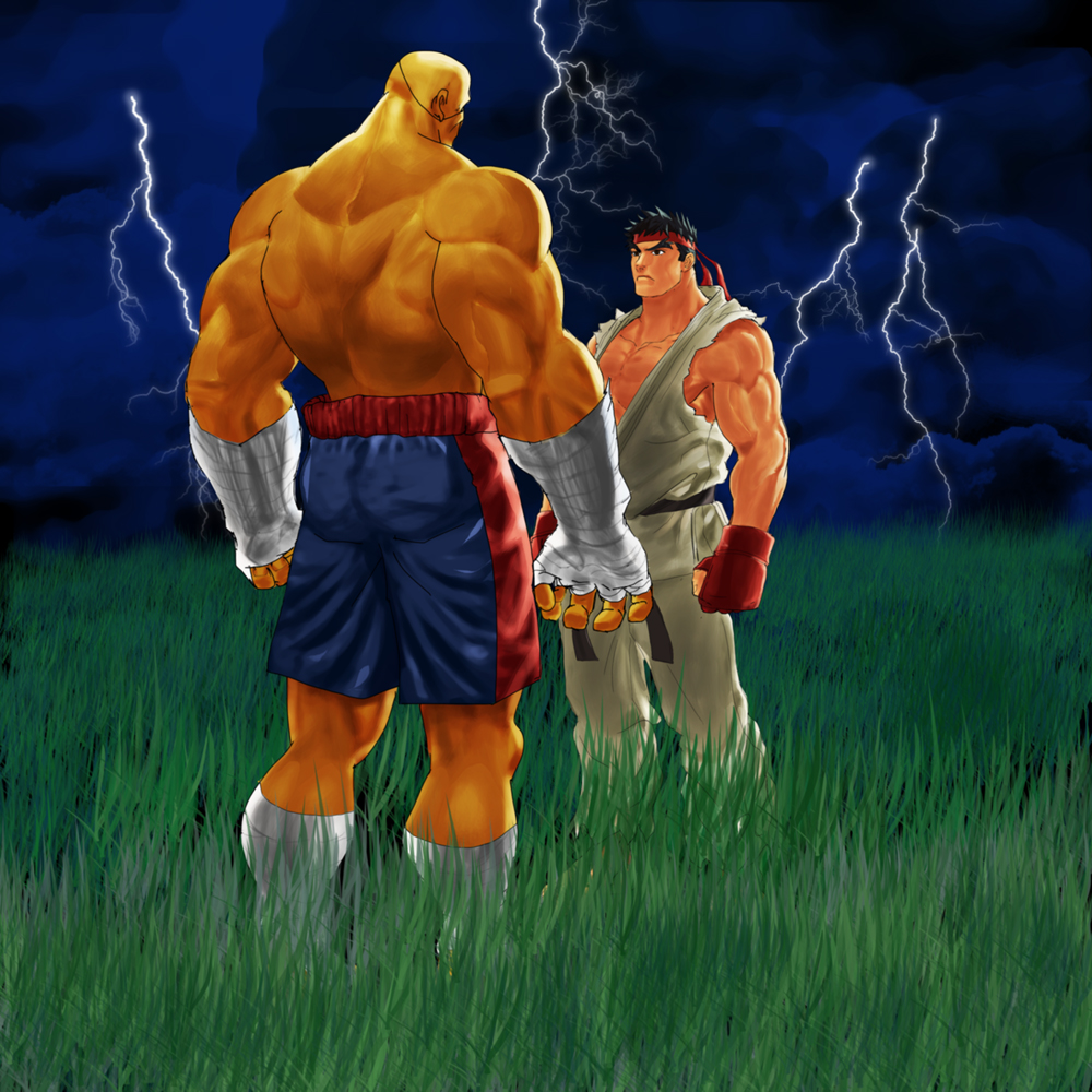 Sagat  vs. Ryu by Stitchking
