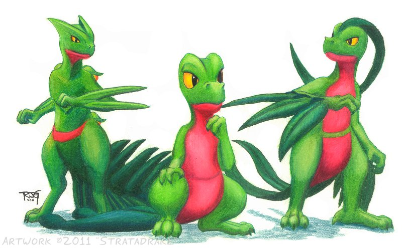 Sceptile and family by Stratadrake