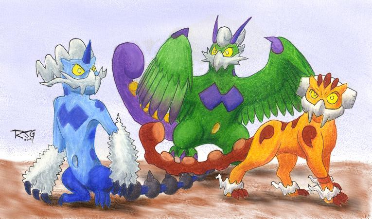 Sacred Beast trio by Stratadrake