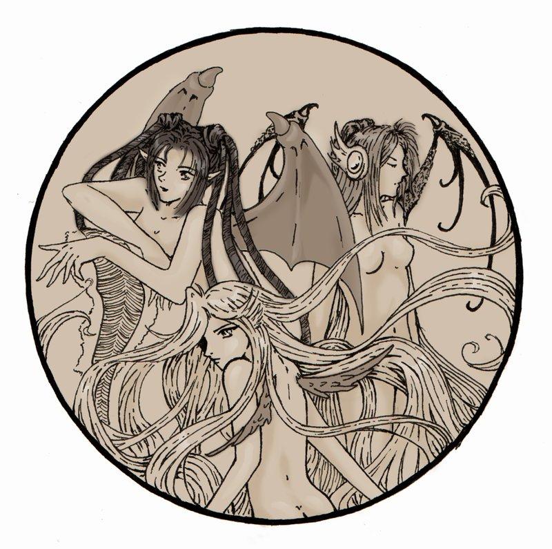 LineArt Demons (colored) by saiyaku