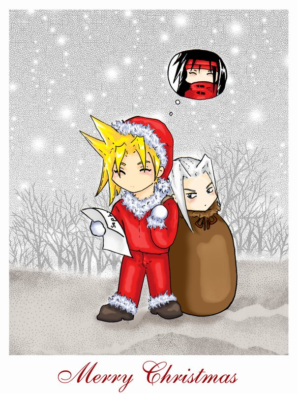 FFVII Xmas Card by saiyaku