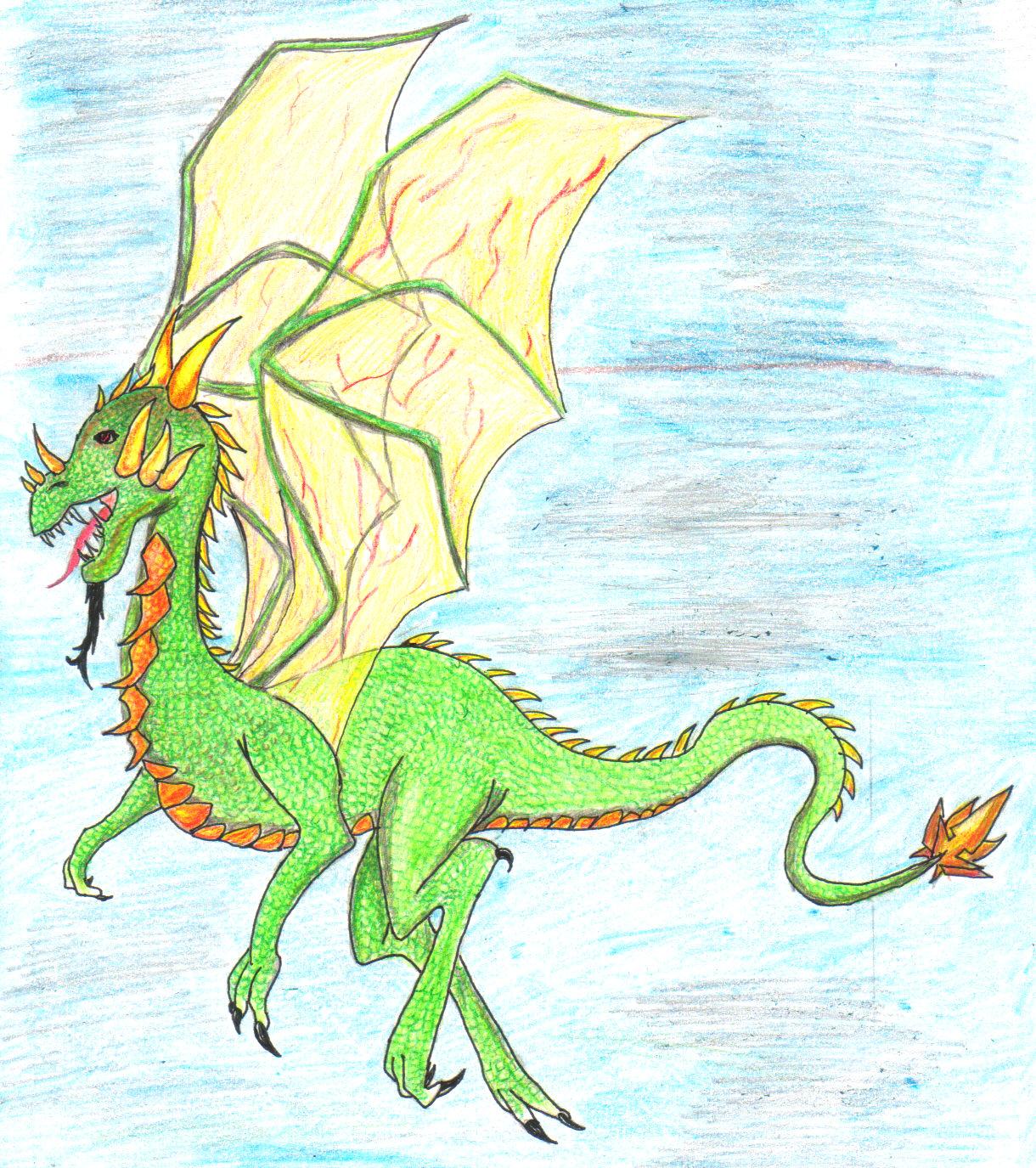 Green dragon in the sky by setzaroth