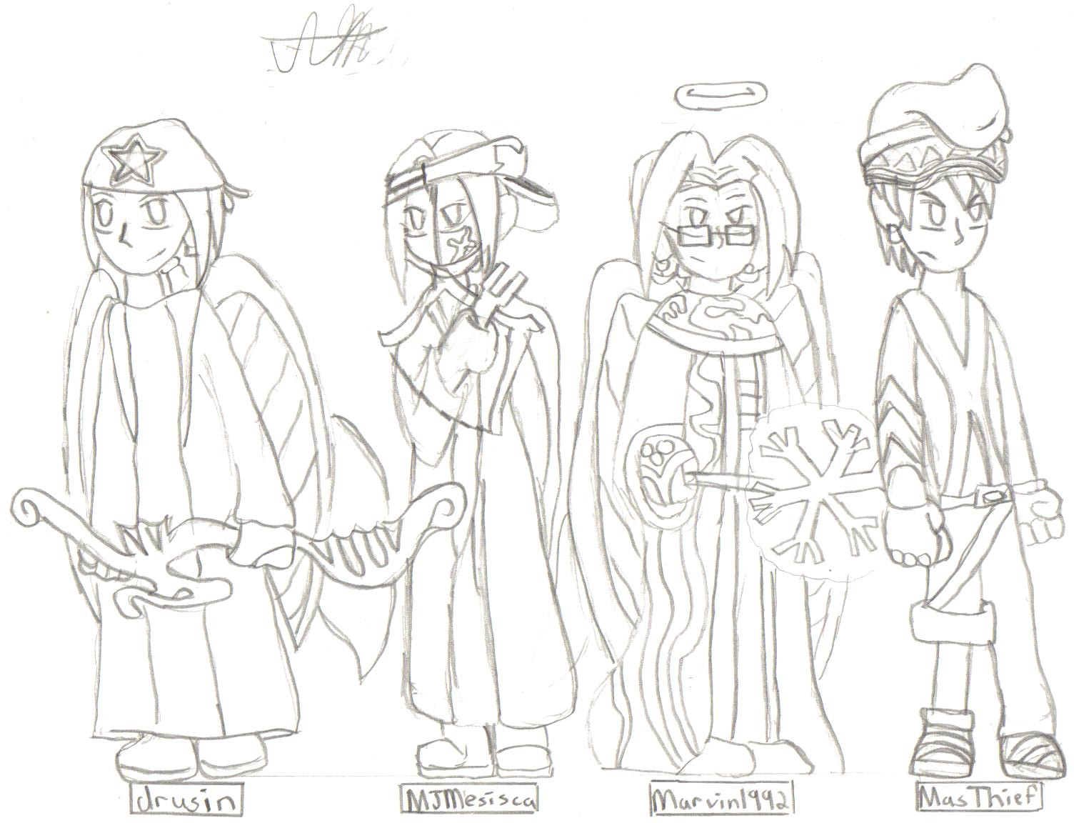 my char and my friends chars on maplestory by shadic_the_hedgehog