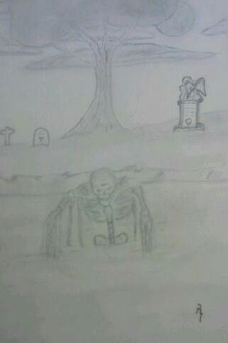 ghoul skeleton in river near cemetery by smokeybandit1