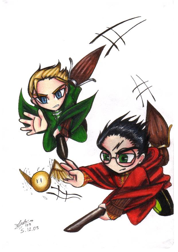harry and draco play quiditch by snapesnogger