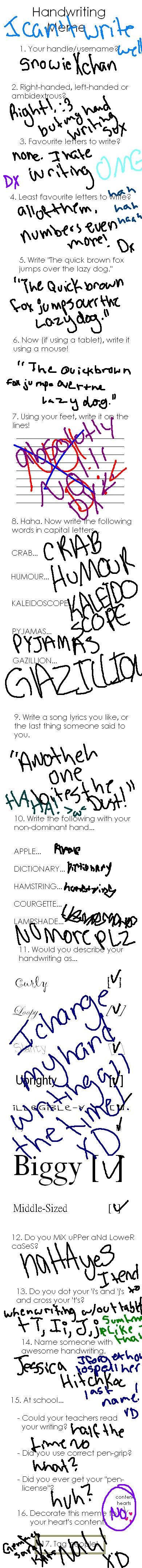 handwriting meme! by snowieXchan