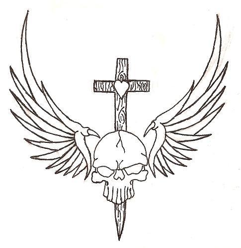 Winged skull outline by soldadoporvida