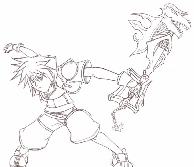 Sora - Battle Pose (1) by steppingxlxintoxlxdarkness
