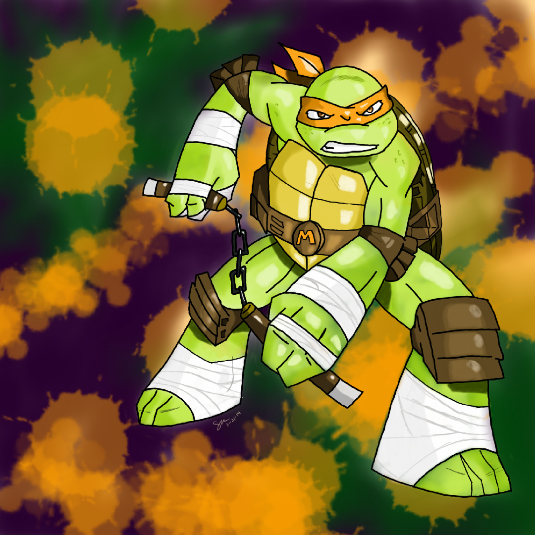 TMNT - Mikey ( Colored ) by steppingxlxintoxlxdarkness