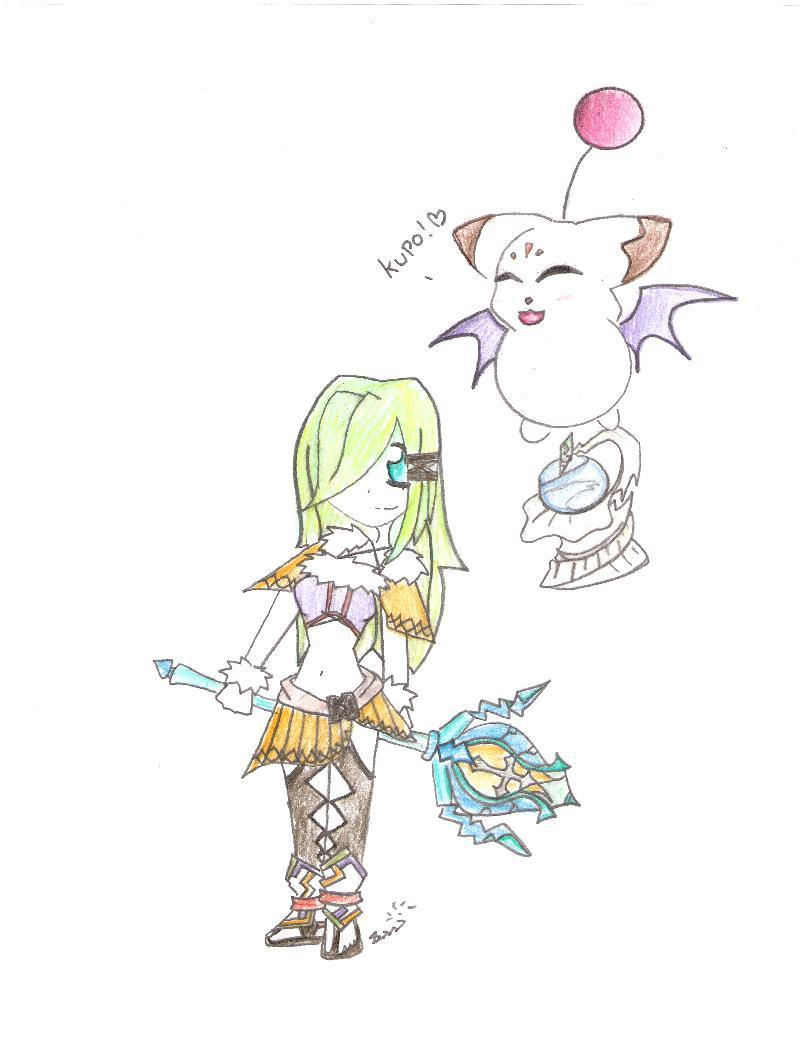 Selkie and her Moogle by supergirlcomix