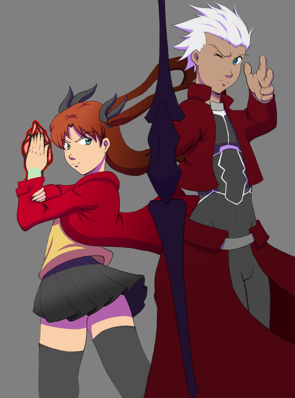 Tohsaka and Archer by syros69er
