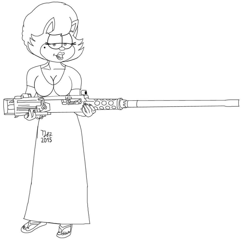 Ma Deuce Miss Kitty raw sketch by TeeJay87