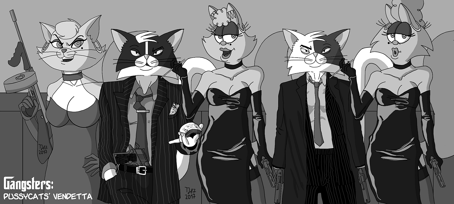 The Pussycats' Vendetta: Family Picture (B&W) by TeeJay87