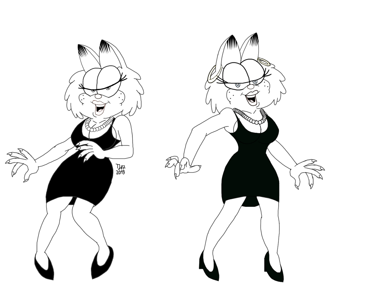 Dancing Gwen and Lola (sketch) by TeeJay87