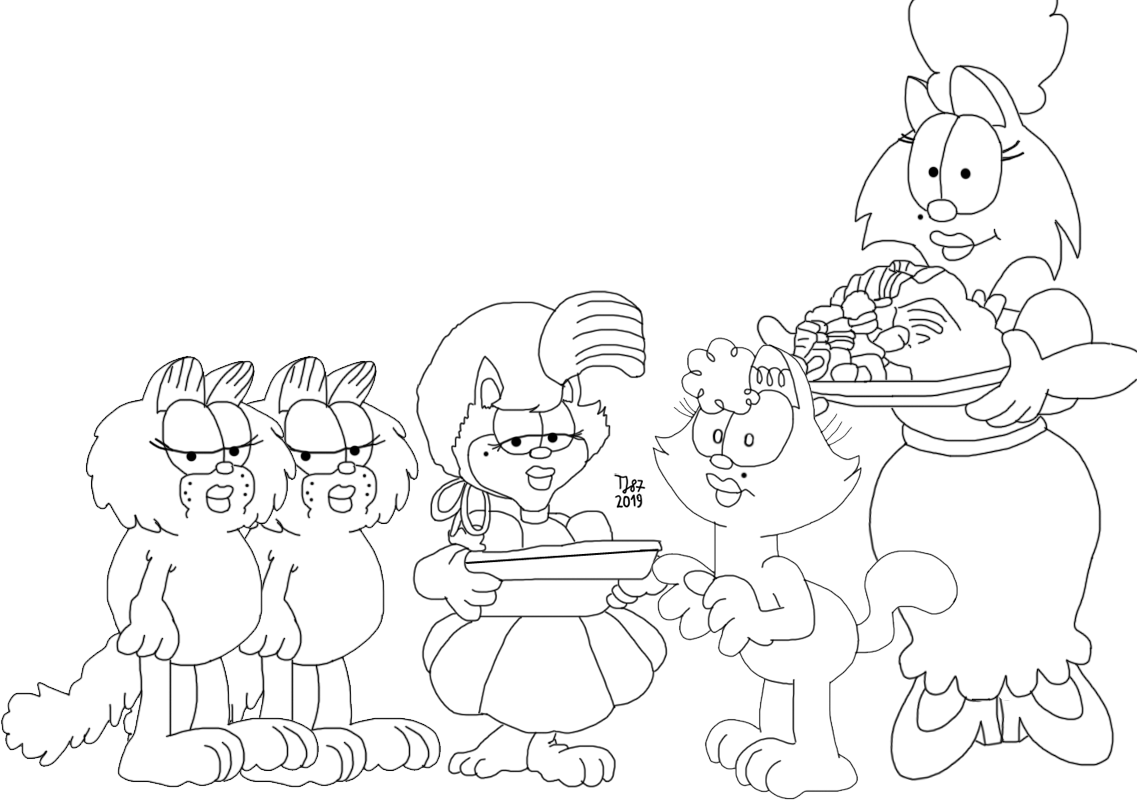 Garfield's Dates (raw sketch) by TeeJay87