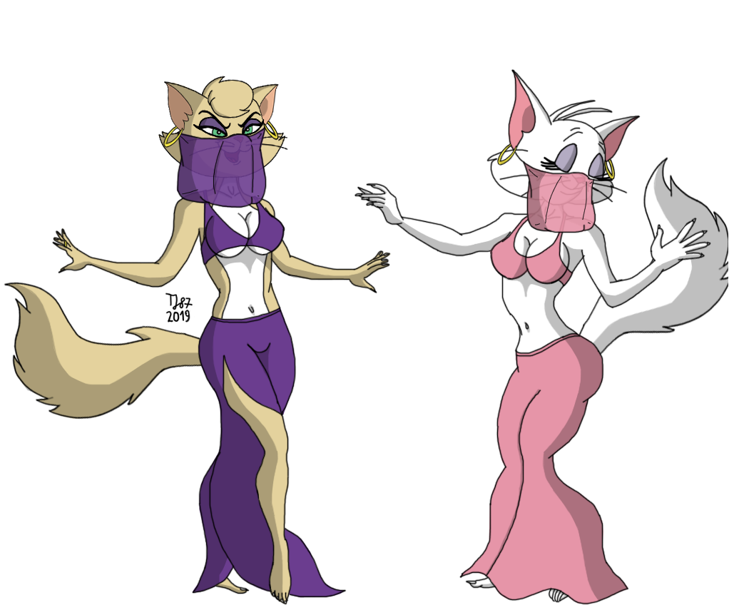 Delilah and Toodles Belly Dancing (WIP) by TeeJay87