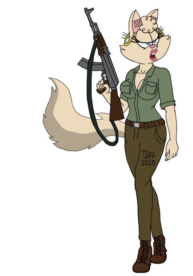 Indiana Pussycat with AK47 (WIP) by TeeJay87