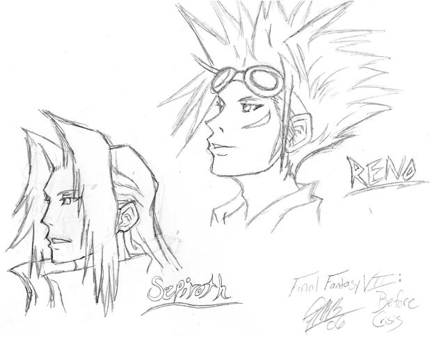 FF7:BC Chara. Pencil Sketches 1 by The_Unsent_Laugh