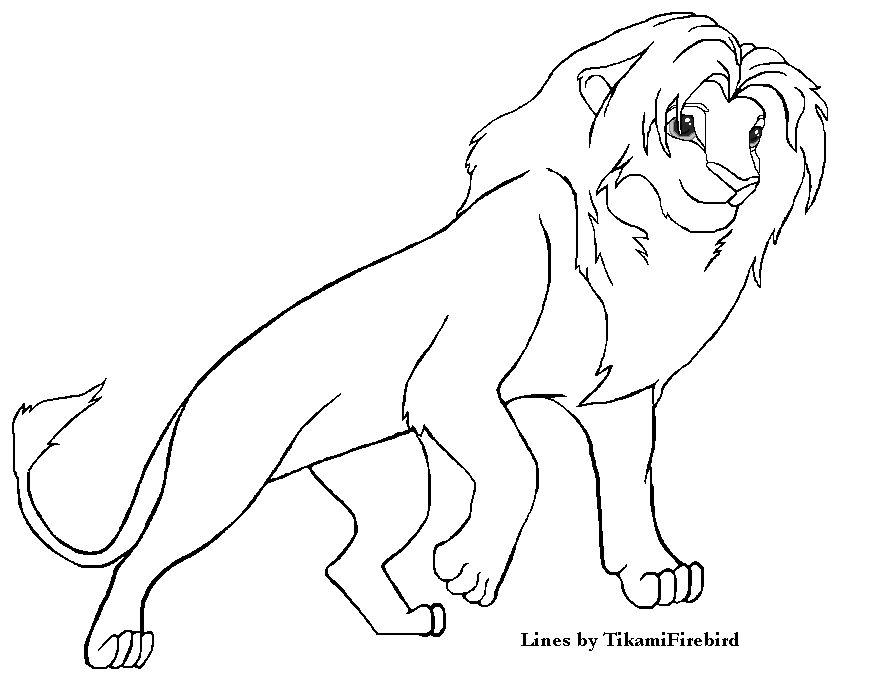 Lion King Lineart MS Paint Ready by Tikami
