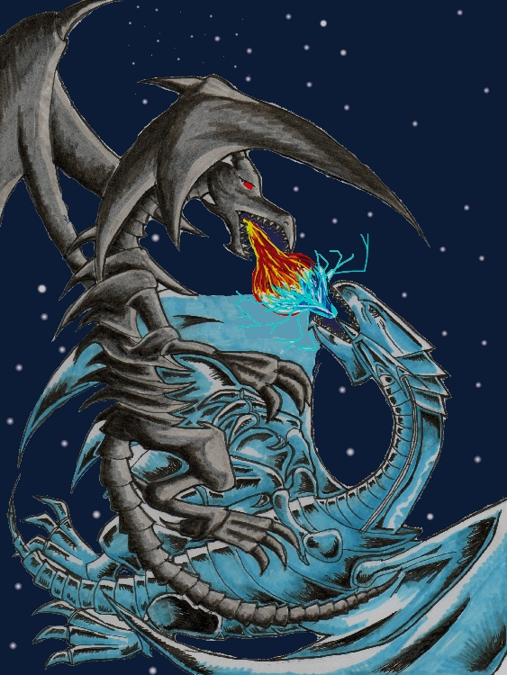 blue eyes white dragon and red eyes. lue eyes white dragon and red