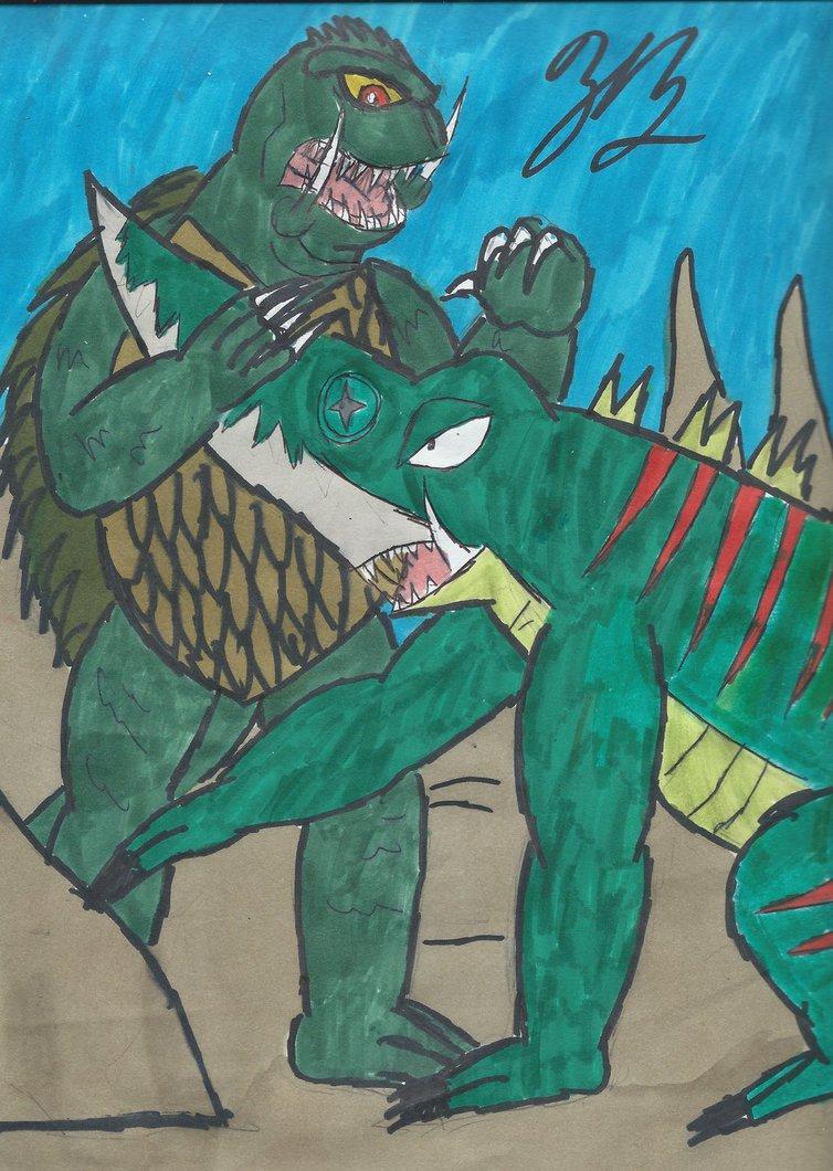 Gamera vs Guiron by thezackburg