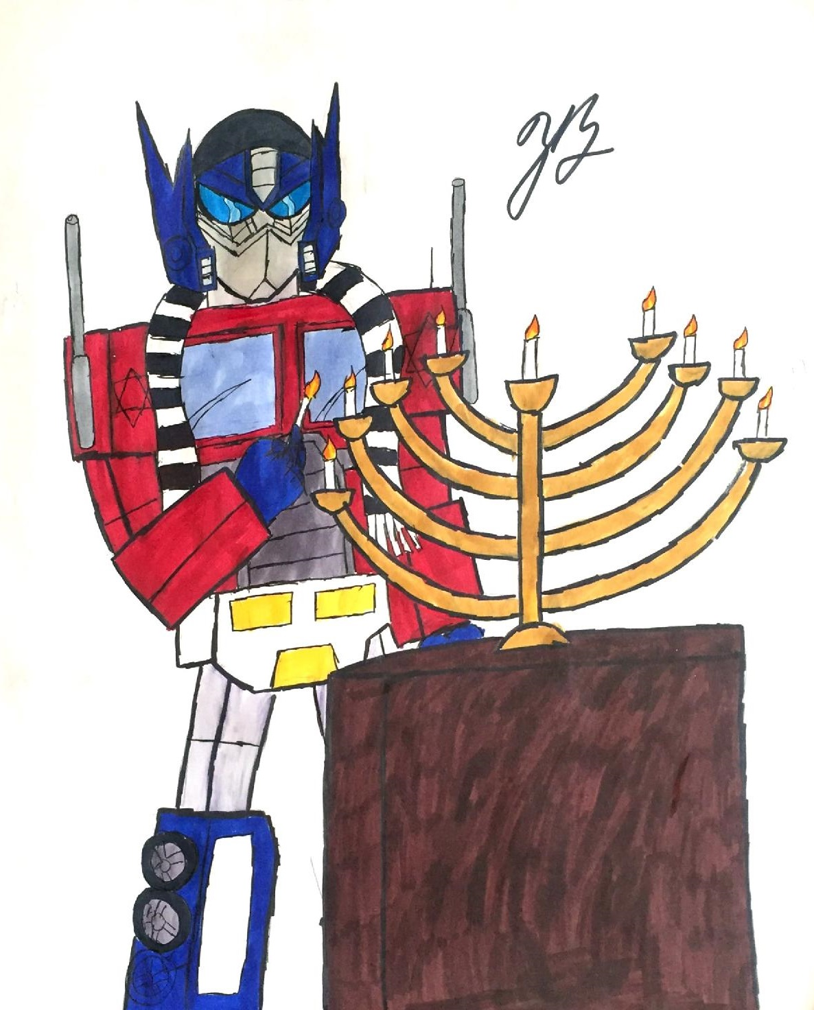 Hanukkah with Optimus Prime by thezackburg