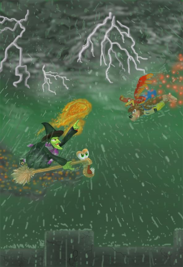 Banjo-Kazooie vs. Gruntilda by thunderhead