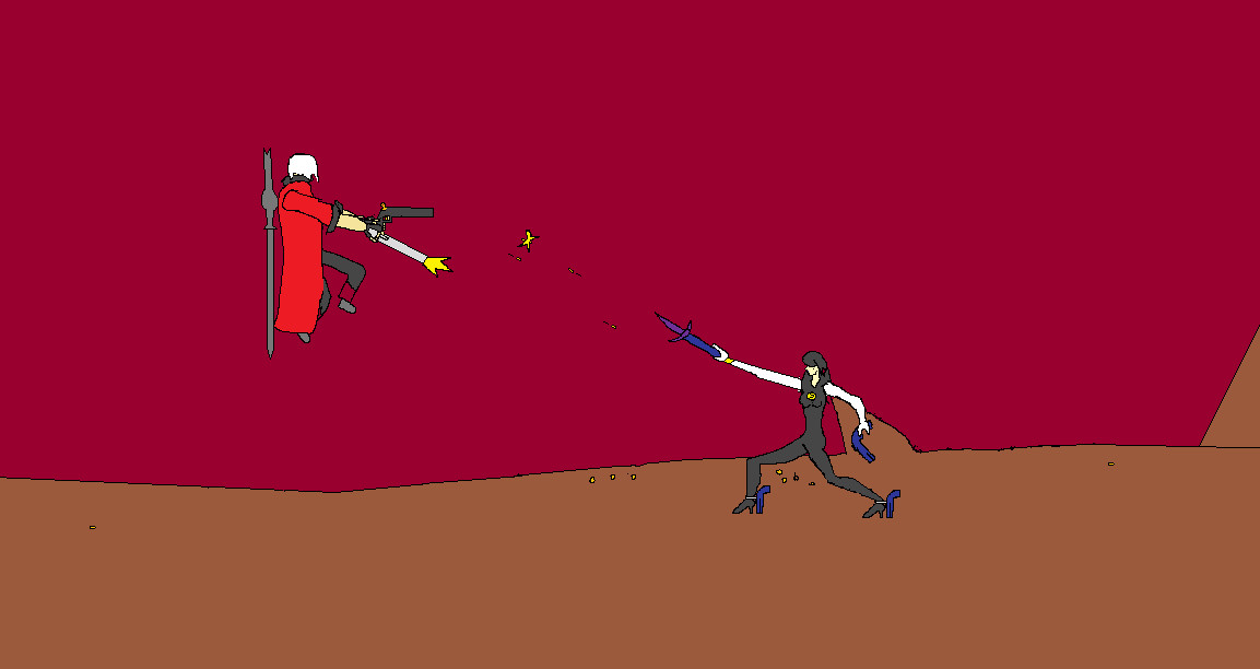 Dante vs. Bayonetta (animation piece) by truegamer