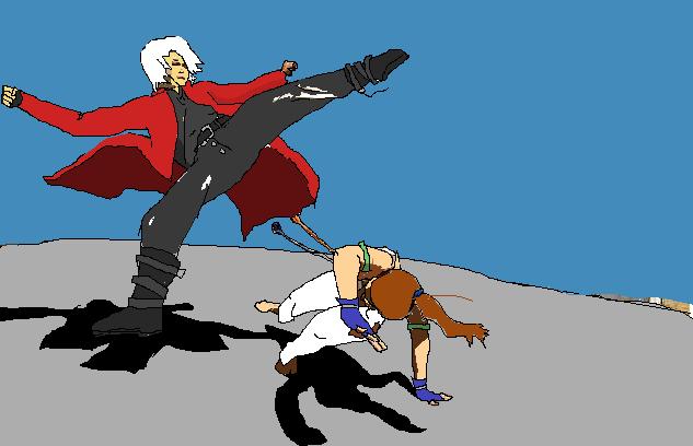 Dante doing Capoeira with Christie (Tekken) by truegamer