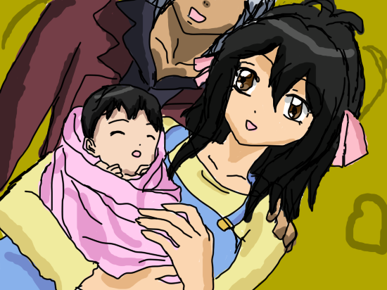 Victoria, Tsubasa and their daughter Veronica by Victoria-Ootori