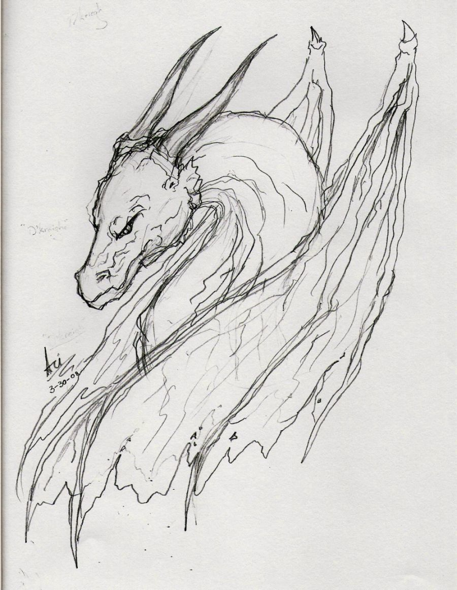 Scary Dragon Sketch by White_fox_of_jade