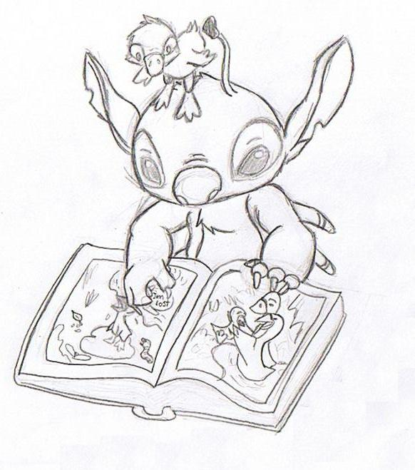 Stitch and the book by Witchiamwill
