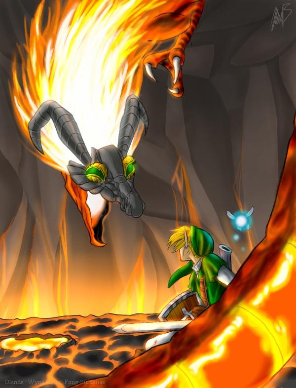 Volvagia Attacks Link (Legend of Zelda: OoT) by WynaHIros
