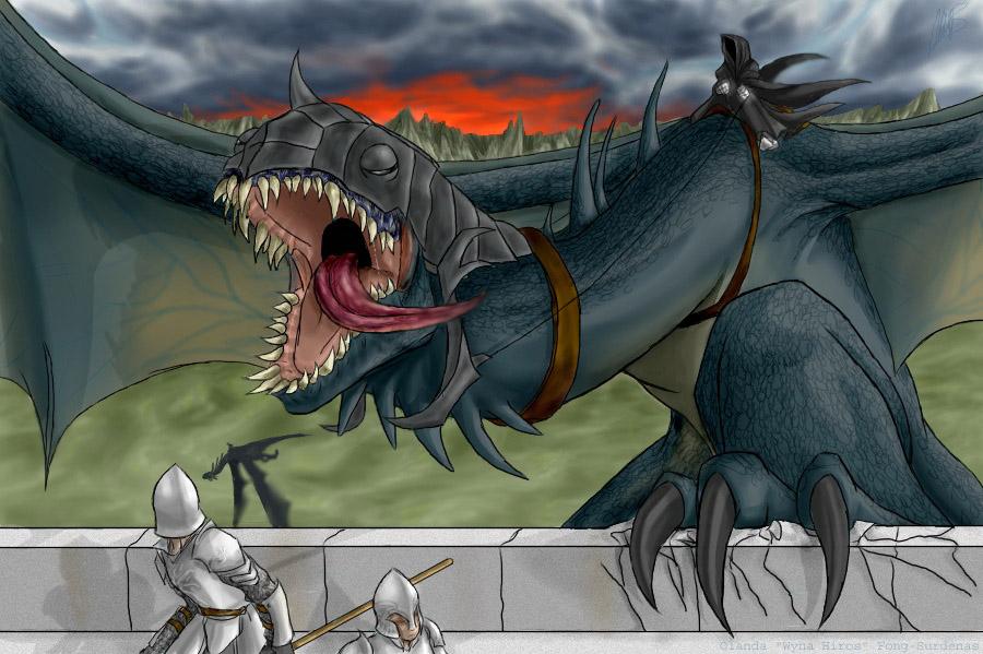 Nazgul Attack on Minas Tirith (LOTR/RoTK) by WynaHIros