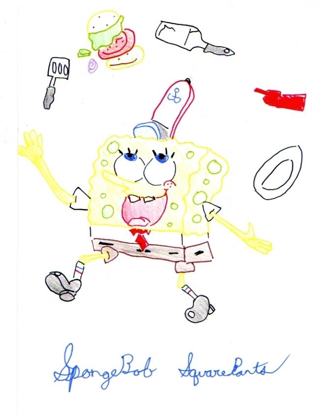Spongebob with all the Krabby Patty stuff by wild_spirit