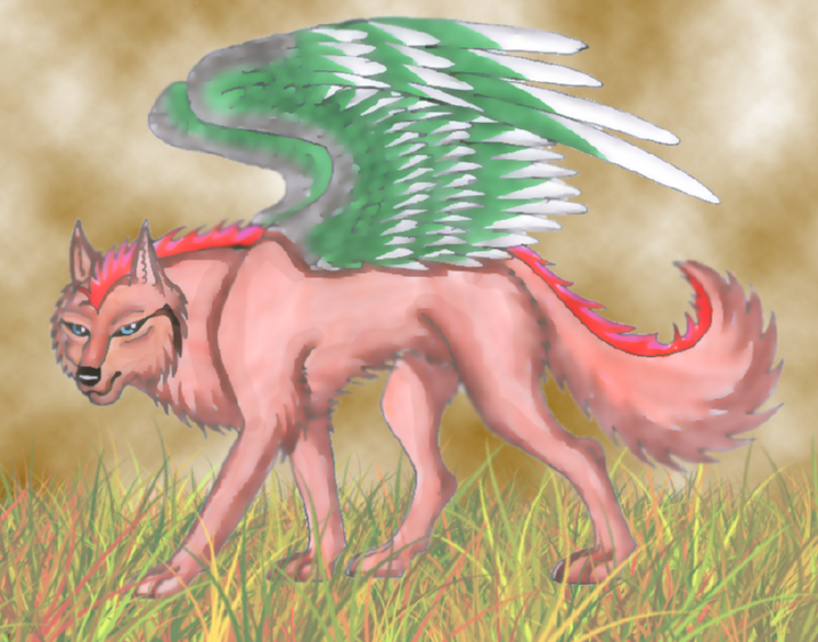 The Winged Red Wolf by wolfymewmew