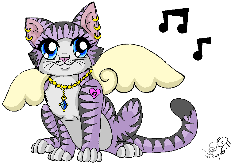Little Purple Winged Kitty by wolfymewmew