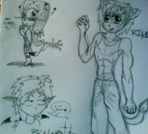 Chibi Tydo, Rike and Bladen by xaleMaiKomodo
