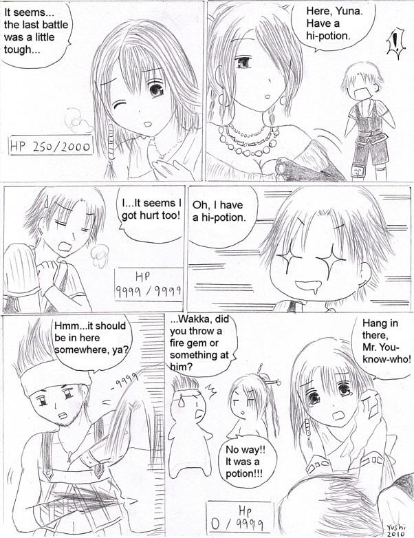 FFX comic: Get that potion! by Yushi
