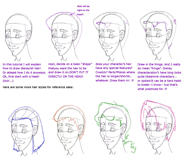 Drawing Disney Style Hair  Tutorial  Reference by