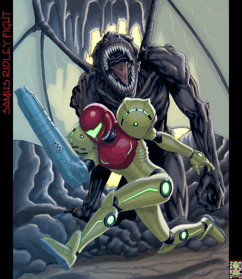 Samus Ridley Fight by zakuman