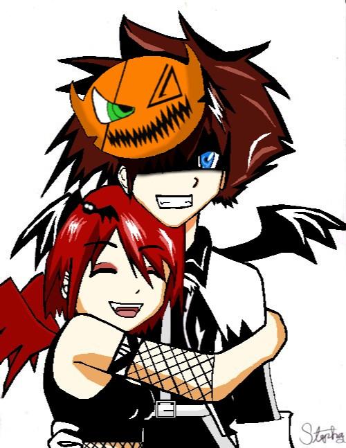 Halloween sora and kairi[neww] by zelda41